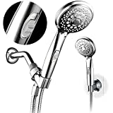 HotelSpa 7-setting AquaCare Series Spiral Handheld Shower Head Luxury Convenience Package with Pause Switch, Extra-long Hose PLUS Extra Low-Reach Bracket Stainless Steel Hose - All-Chrome Finish