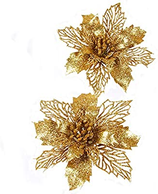 Amazon Com Fnbgl Glitter Gold Poinsettia Flowers Christmas Ornaments 10 Packs Christmas Tree Decorations Gold Home Kitchen