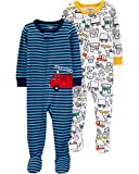 Carters Boys Toddler 2-Pack Cotton Footed Pajamas, Firetruck/Construction, 3T