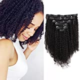 AmazingBeauty 8A Grade Big Thick Real Remy Human 4A 4B Double Wefted Afro Curly Clip In Hair Extensions for African American Black Women, Natural Black, 120 Gram, 16 Inch