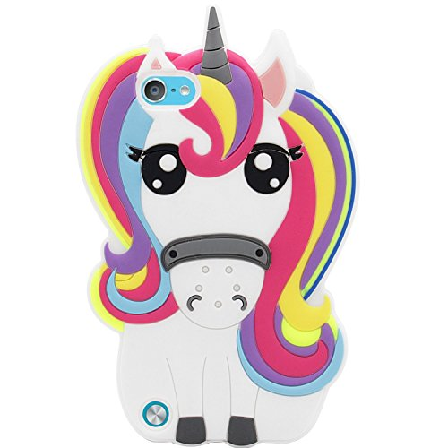 Mulafnxal Rainbow Unicorn Case for iPod Touch 5 6 5th 6th,3D Soft Silicone Cases,Cute Cartoon Animal Fun Cover,Kawaii Character Girls Kids Cool Protective Protector,Shockproof Rubber Shell for iPod6 5
