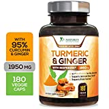 Turmeric Curcumin with Ginger 95% Curcuminoids 1950mg with Bioperine Black Pepper for Best Absorption, Made in USA, Anti-Inflammatory Joint Relief, Turmeric Pills by Natures Nutrition - 180 Capsules