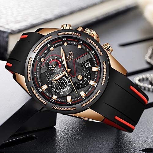 Lige Men's Watch Fashion Waterproof Silica Gel Chronograph Luxury Business Analog Quartz Watches Classic Black Belt Date Calendar Watch 5