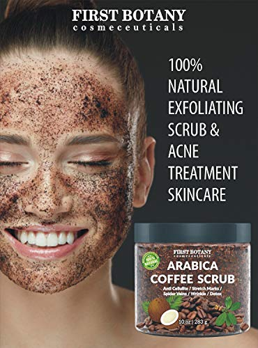 100% Natural Arabica Coffee Scrub with Organic Coffee, Coconut and Shea Butter - Best Acne, Anti Cellulite and Stretch Mark treatment, Spider Vein Therapy for Varicose Veins & Eczema 10 oz 7