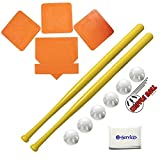 Wiffle Ball 6 Baseballs Official Size - 6 Pack and Wiffle Ball 32' Bats 2 Pack, BSN Orange Throw Down Bases (5 Piece), Gift Set Bundle + Bonus NOIS Tissue Pack