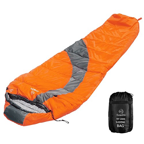 OuterEQ Compact Lightweight Mummy Sleeping Bag, Compression Sack Waterproof for Camping & Hiking & Backpacking (Orange/Grey Left)