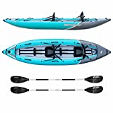 Driftsun Rover 220 Inflatable Tandem White-Water Kayak with High Pressure Floor and EVA Padded Seats with High Back Support, Includes Action Cam Mount, Aluminum Paddles, Pump and More