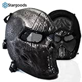 Stargoods Skeleton AirSoft Tactical Mask - Metal Mesh Paintball, BB Gun & CS Games - Black