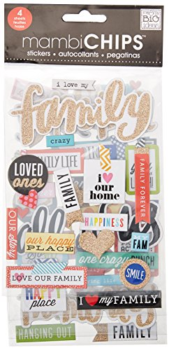 Me & My Big Ideas CBVX46 Chipboard Value Pack-I Love My Family