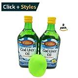 Carlson Norwegian Cod Liver Oil, Lemon.Without the Fishy Taste [16.9 fl oz (500ml)] 1100 mg of Omega-3s [2 pack] + Free Stress Ball