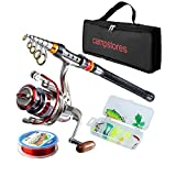 ministoream Rod and Reel Combos Carbon Fiber Telescopic Fishing Rod with Reel Combo Sea Saltwater Freshwater Kit Fishing Rod Kit (2.1M 6.89Ft)