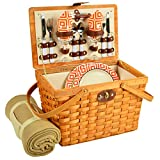 Picnic at Ascot Frisco Traditional American Style Picnic Basket With Blanket, Diamond Orange