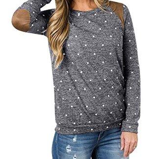 170e1b554f Aolakeke Women Long Sleeve Tops Polka Dot Sweatshirt Elbow Patches Blouse  Plaid Sweater T shirts