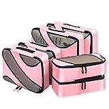 6 Set Packing Cubes,3 Various Sizes Travel Luggage Packing Organizers (Pink)