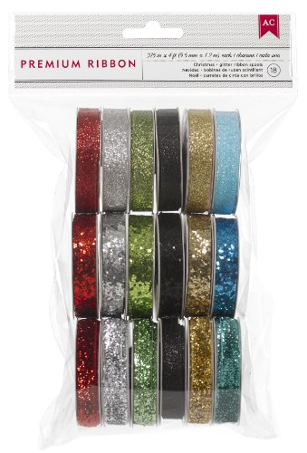 American Crafts Value Pack Glitter Ribbon Set 2, 1-Yard Spool, Set of 18