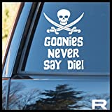 Goonies Never Say Die Jolly Roger Vinyl Decal | Goonies never Say Die Mikey Truffle Shuffle Chunk One Eyed Willy Pirate Jolly Roger Astoria | Cars Trucks Laptops Cups Tumblers Mugs | Made in USA