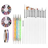 Nail Art Brushes, Teenitor 3d Nail Art Paiting Polish Design Kit with 15 Nail gel Brushes, Nail Dotting Pen 5pcs, 12 Colors Nail Rinestones & 10 adhesive Nail striping tape for False Acrylic Nails …
