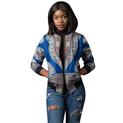 f4b1fafe9af Women s Long Sleeve African Print Dashiki Zip-Up Short Biker Bomber Jacket  Outwear Coat
