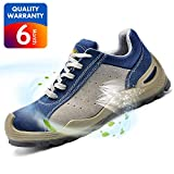 SAFETOE Safety Shoes Work Boots Wide L7295 Leather &Steel Toe Work Shoes for Men and Women Blue