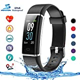 Lintelek Fitness Tracker, Color Screen Activity Tracker with Heart Rate Monitor, Sleep Monitor, 14 Sports Modes, IP68 Waterproof Pedometer, Step Counter for Kids, Women, Men (New Black)