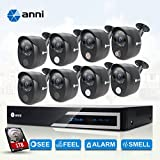 anni 16-Channel HDMI 1080N Digital Video Recorder with 1TB HDD and 8X Wired Security Cameras with Built-in Gas Detector, PIR Heat-Based Sensor, Siren Audio Alarm Blaster