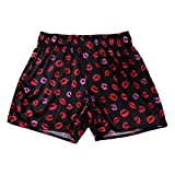 Agoky Men's Silky Satin Boxer Shorts Love You Valentine Special Pajamas Sleepwear Lounge Underwear Lip Print Black B Medium (Waist 27.5'-43.0')