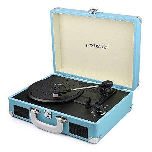 "Vintage Portable Turntable - 3 Speed Record Player Suitcase - Built In Stereo Speaker and Battery - 1/8"" Stereo Headphone Jack, Aux Input, RCA Output – Blue VinylPal by ProduTrend"
