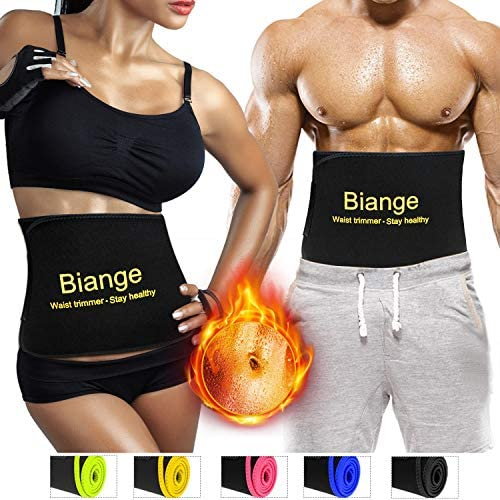 Biange Waist Trimmer for Women & Men Sweat Waist Trainer Slimming Belt, Stomach Wraps for Weight Loss, Neoprene Ab Belt Low Back and Lumbar Support 3