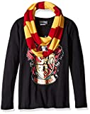 Harry Potter Big Girls' Hogwarts Long Sleeve T-Shirt with Scarf, Black, X-Large