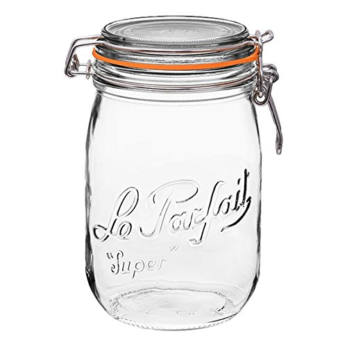 1 Le Parfait Super Jar - Wide Mouth French Glass Preserving Jars - Zero Waste Packaging (1, 1000ml - 32oz - Quart)