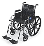 Medline Excel 2000 Wheelchair, 20' Wide Seat, Desk-Length Arms, Swing Away Footrests, Chrome Frame