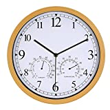 Genbaly 12 Inch Indoor/Outdoor Modern Wall Clock with Temperature & Humidity, Silent Non Ticking Round Wall Clock Home Decor with Arabic Numerals