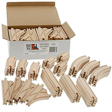52 Piece Wooden Train Track Set- Works with Thomas