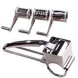 Rotary Cheese Grater - LOVKITCHEN Cheese Cutter Slicer Shredder with 3 Interchanging Rotary Ultra Sharp Cylinders Stainless Steel Drums & Slicer