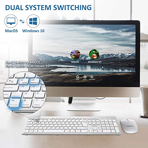 51pdHEj3QmL - FENIFOX Wireless Keyboard & Mouse, Dual System Switching Double Ergonomic 2.4G USB QWERTY Full Size UK Layout for Computer PC Mac imac Laptop Windows 10 8 7 Xp (Silver & White)