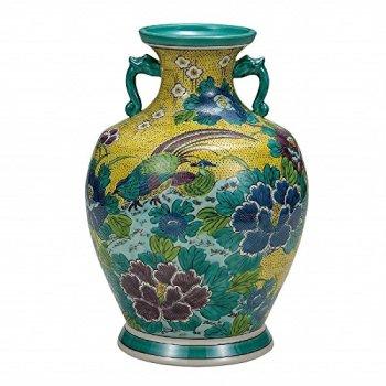 Jpanese traditional ceramic Kutani ware. Ikebana flower vase. Yoshidaya gold crane. With wooden box. ktn-K5-1360