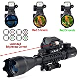 UUQ 4-16x50 Tactical Rifle Scope Red/Green Illuminated Range Finder Reticle W/ Integrated Red Laser Holographic Dot Sight (12 Month Guarantee)