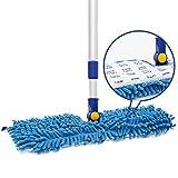 JINCLEAN 18' Microfiber Floor Mop   Dual Side Different Action Dust Mop Dry to Attract Dirt, dust, pet Hair Or Hardwood Floor Clean, Telescopic Aluminum Pole Adjust Height max 51'