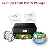 Icinginks Wireless Canon Edible Image Printer for Cakes, Exclusive Edible Printer Package with 2 Types of 110 Assorted Edible sheets,Flexible Frosting Sheets,Wafer Paper & Set of Edible Ink Cartridges