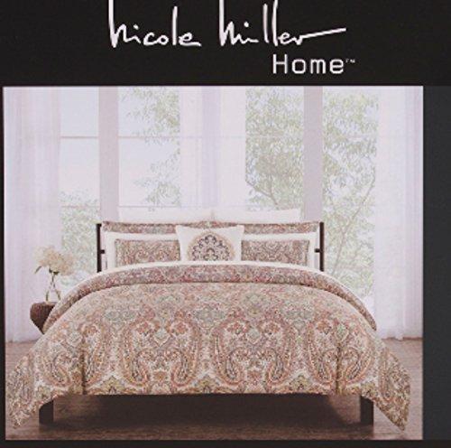 Nicole Miller Bedding Duvet Cover Set King 3 pc Set Cotton Paisley Medallion Floral Rust Sage Bohemian