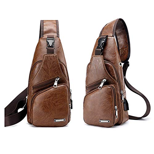 Men Shoulder Crossbody Sling Bag, PU Leather Chest Backpacks Crossbody Daypacks with USB Charging Port for Outdoor Activities (Light Brown) 3 Fashion Online Shop gifts for her gifts for him womens full figure