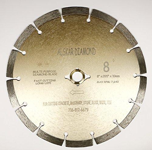 ALSKAR DIAMOND ADLSS 8 inch Dry or Wet Cutting General Purpose Power Saw Segmented Diamond Blades for Concrete Stone Brick Masonry (8')