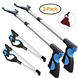 ENINE 2 Packs - Reacher Grabber Pick Up Tool, 32' Foldable Extender Gripper Tool, Lightweight Long Duty Mobility Aid, Claw Trash Garbage Picker, Long Arm Reaching Claw (2 Pack Blue)