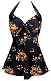COCOSHIP Black & Orange Tangerine Fruit Vintage Sailor Pin Up Swimsuit One Piece Skirtini Cover Up Swimdress M(FBA)