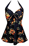 COCOSHIP Black & Orange Tangerine Fruit Vintage Sailor Pin Up Swimsuit One Piece Skirtini Cover Up Swimdress XXL(FBA)
