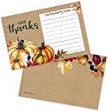 "40 Thanksgiving I Am Thankful for Fill in Gratitude Cards- Plate Setting or Activity for Familes Adults & Kids - Fall Autumn Leaves Pumpkins Decorations Supplies (4x6"" Double Sided)"