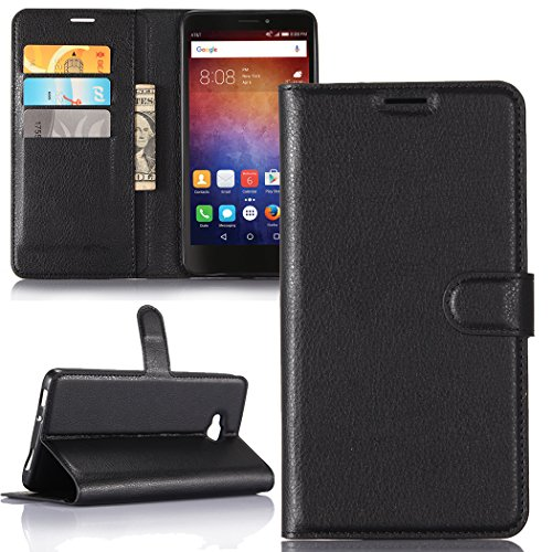 Huawei Ascend XT ,Huawei AT&T / H1611 Case , Luxury Premium PU Leather Flip Stand Wallet Case With Card Slot Soft Inner Back Full Cover Fit For Huawei Ascend XT / AT&T [Best Share] , Black