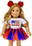 My Genius Dolls 4th of July Patriotic Doll Clothes. Fit 18 inch Dolls Like Our Generation Doll My Life Doll American Girl Doll. Accessories   Reversible Sequin USA Flag, Tutu, Headband, Cute Stickers