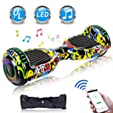 UNI-SUN 6.5' Hoverboard for Kids, Two Wheel Electric Scooter, Self Balancing Hoverboard with Bluetooth and LED Lights for Adults, UL 2272 Certified Hover Board(Ultimate X-Graffiti