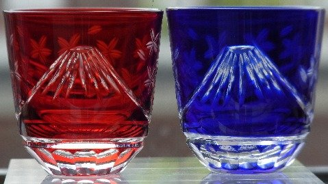 Edo Kiriko heaven sunny Japan pair red , lapis lazuli